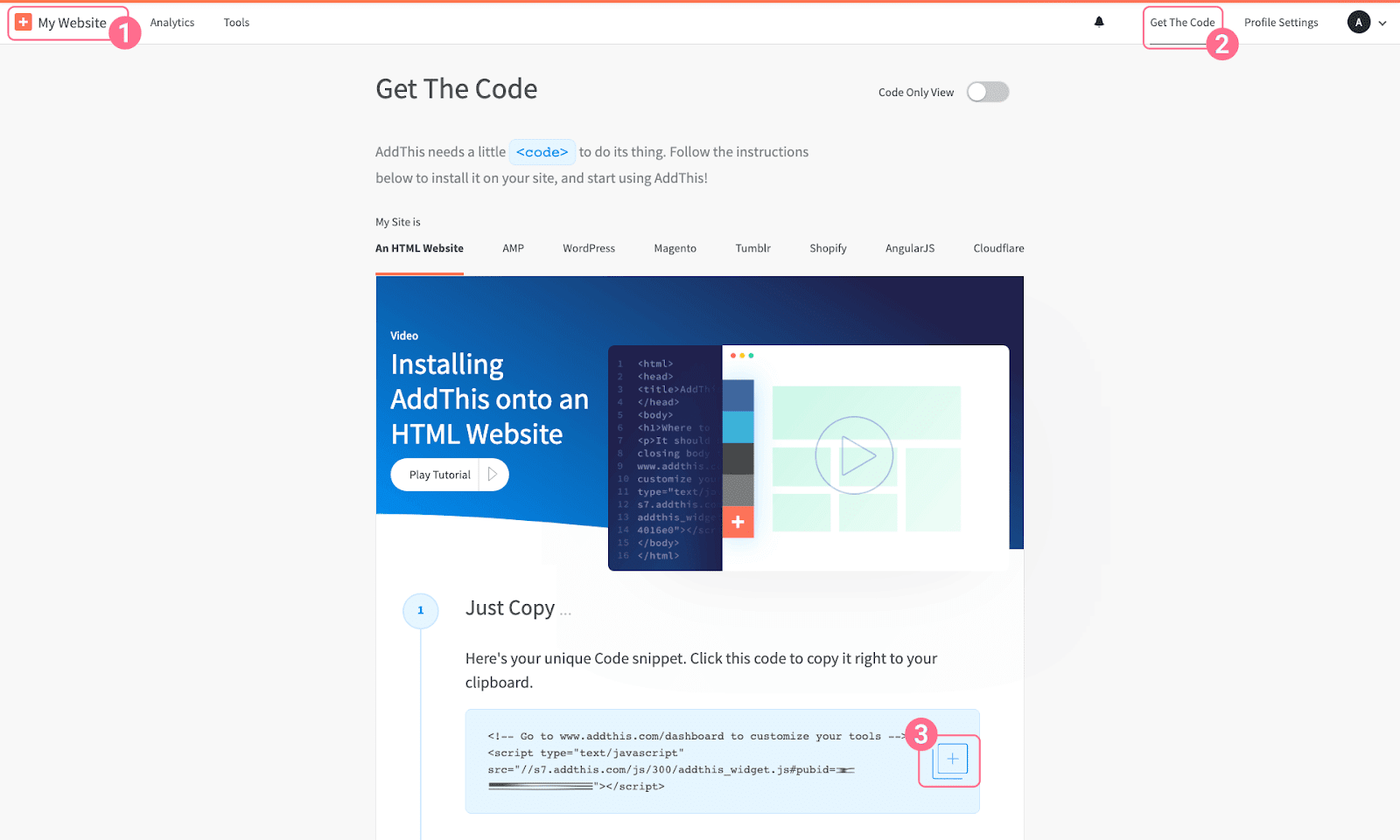 Image 1: Get AddThis code