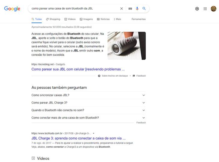 pesquisa no google sobre como parear uma caixa de som bluetooth da jbl