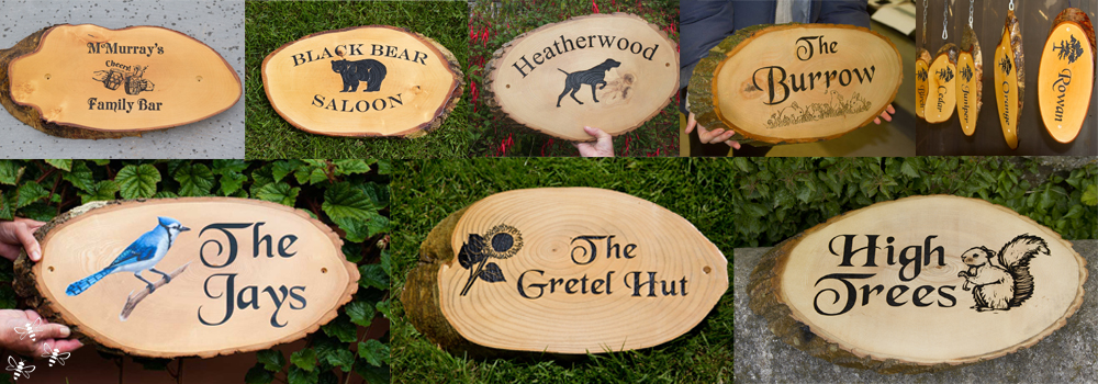 Rustic timber slices are a great choice for a wooden house sign.