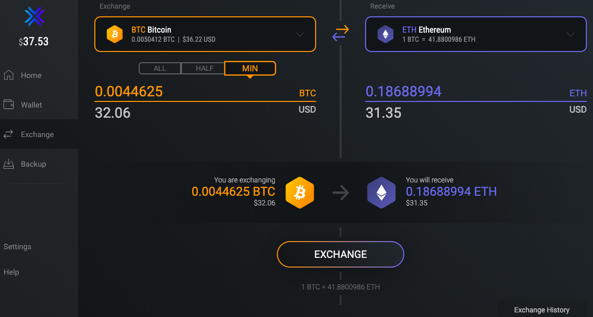 Interface of the Exodus wallet to trade or swap cryptocurrencies. Here Bitcoin and Ethereum.