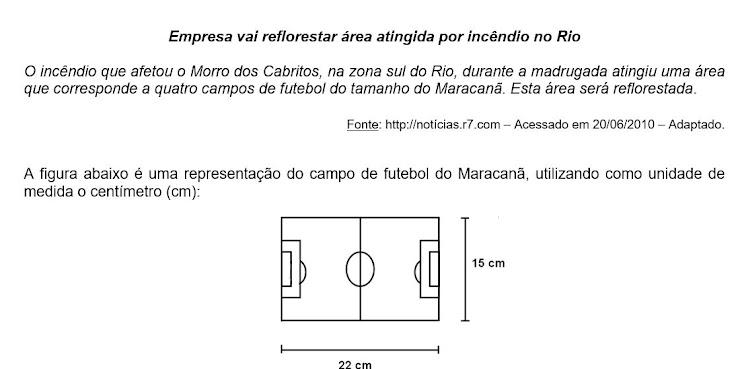 Sabendo que cada 1 centímetro da figura acima corresponde a 5 metros no campo de futebol real, a medida, em quilômetros quadrados, da área reflorestada será de