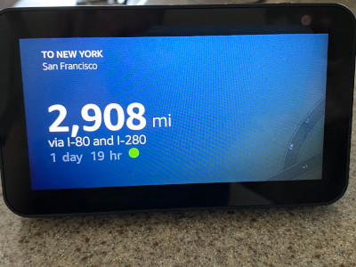 City distance via Echo Show