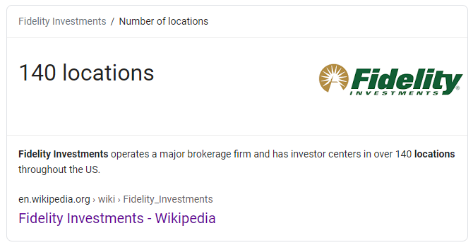 According to Wikipedia, Fidelity has 140 locations.