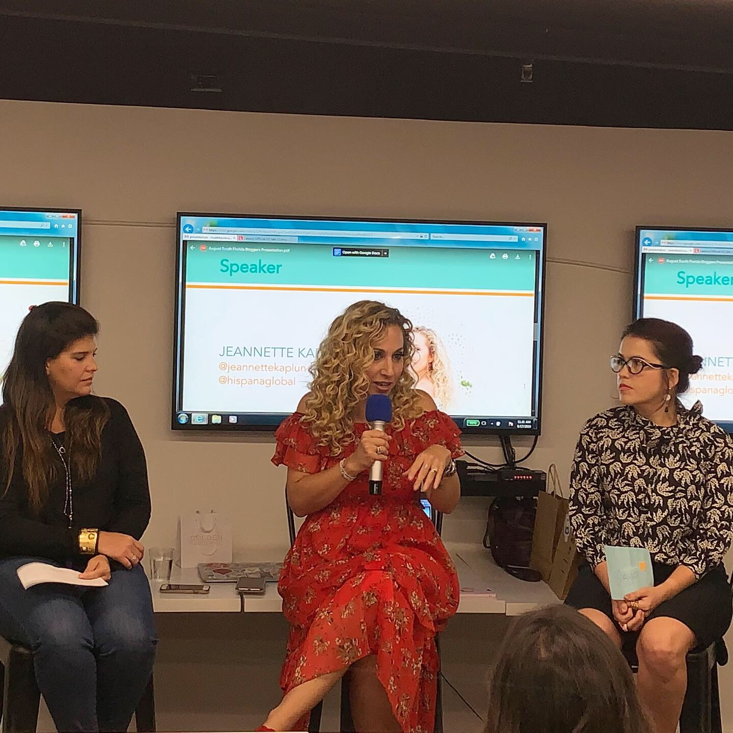 Maria Maiello (Chapter Officer), Jeannette Kaplun (Speaker), and Amaranta Martinez (Chapter Officer) talk to the South Florida Mom Bloggers about connecting through storytelling at this meetup.