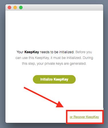 initialize keepkey