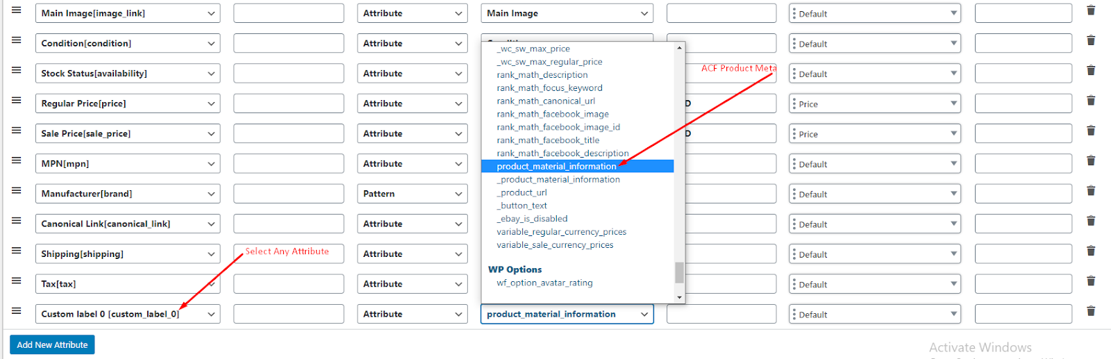 add ACF Filed value into feed step 5