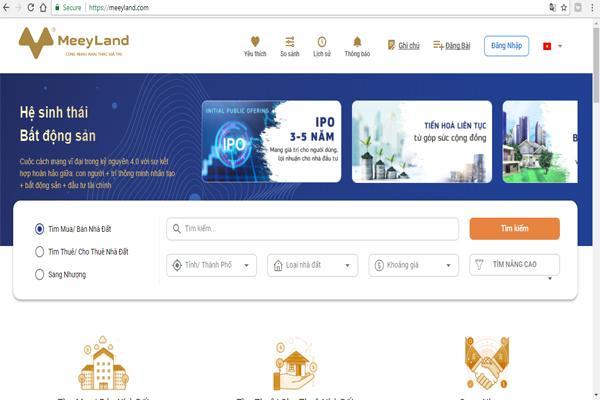 Meeyland sở hữu giao diện thân thiện và dễ sử dụng, đáp ứng nhu cầu về bất động sản của bạn