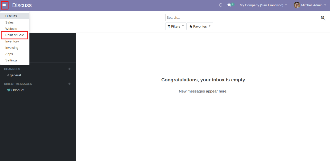Login to the Odoo database and go to POS app.