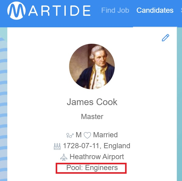 screenshot of Martide website showing James Cook's profile