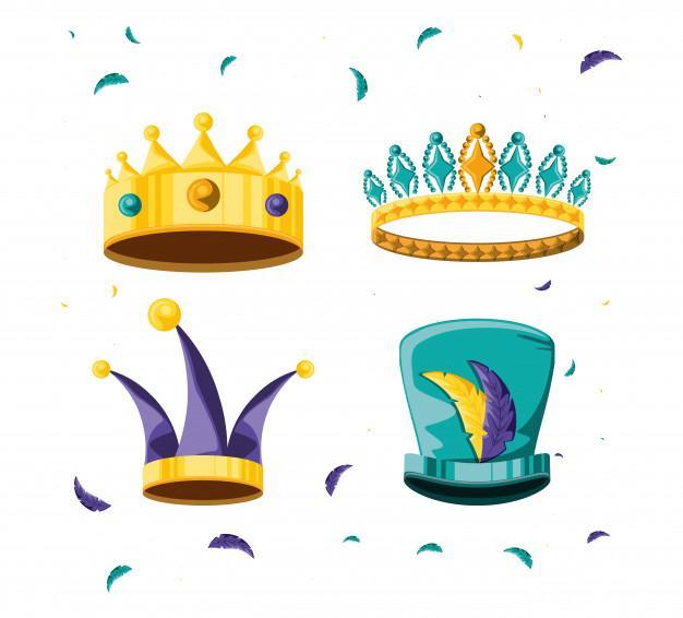 Conjunto de coronas para fiesta carnaval | Vector Premium