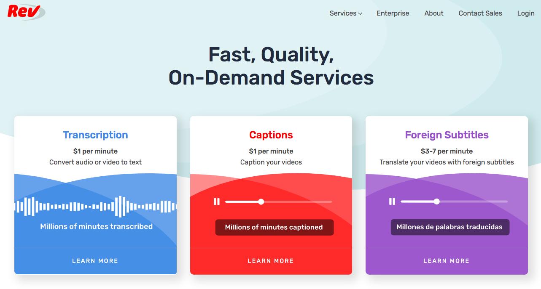 Rev - Dịch vụ đưa phụ đề vào Video hiệu quả (Ảnh: singlegrain.com)