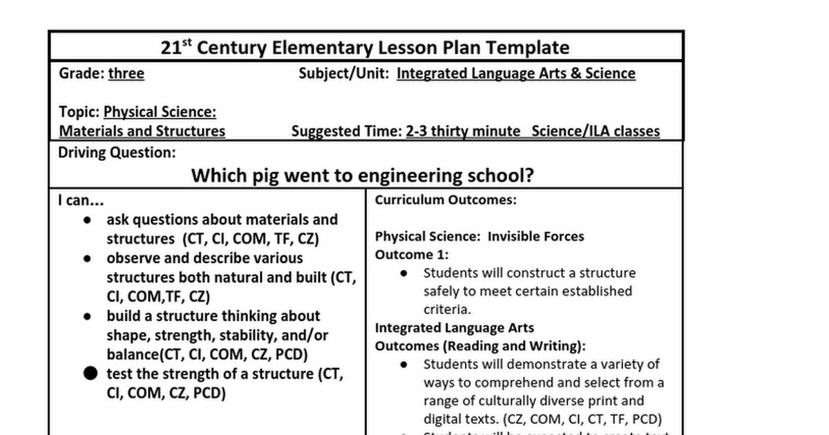 Legacy Lesson Google Docs - 21st century lesson plan template