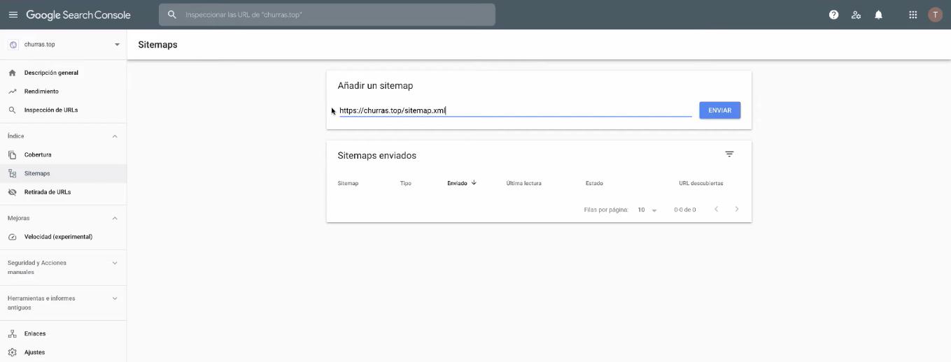 adicionar sitemap no search console