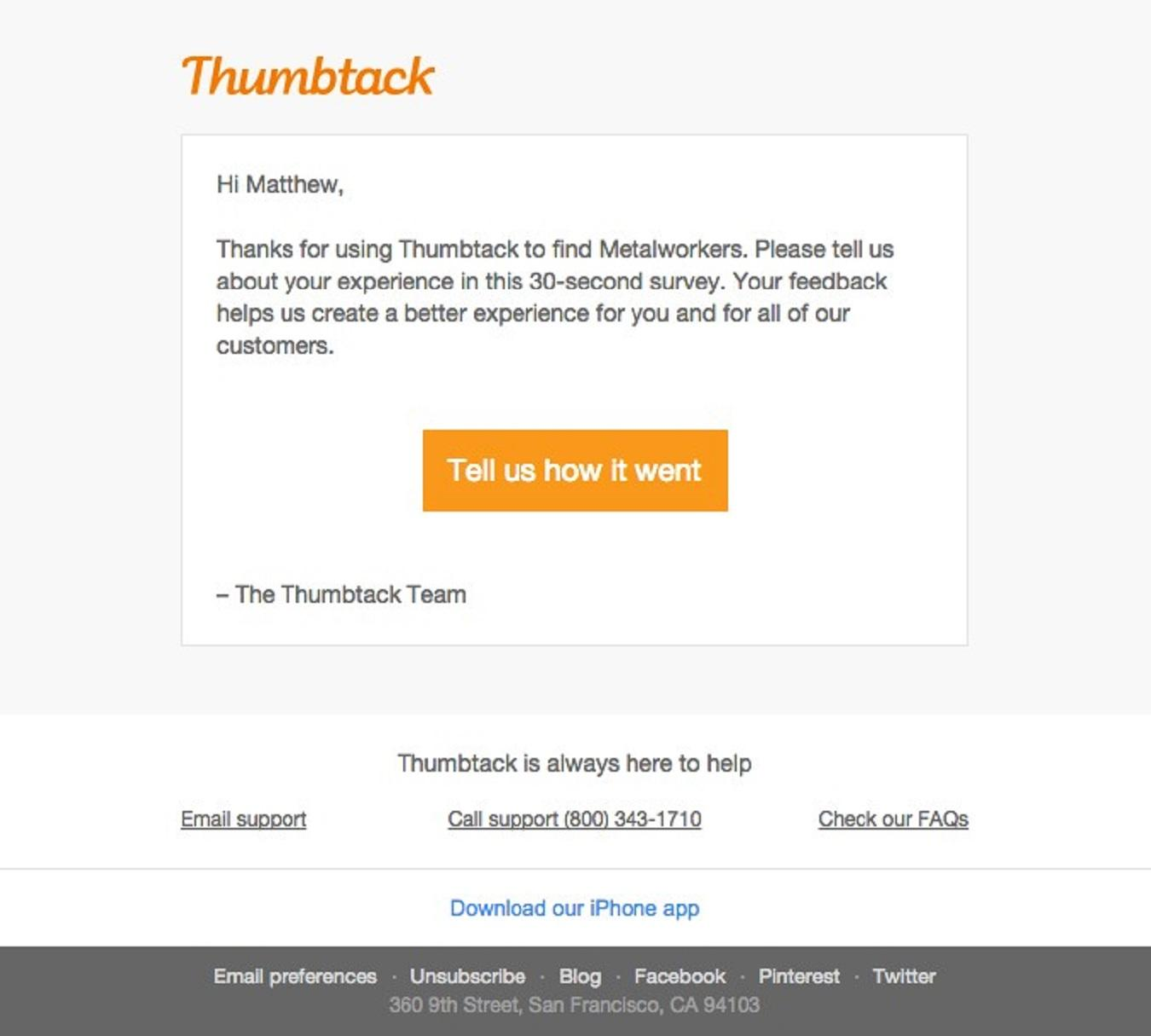Thumbtack subject line example