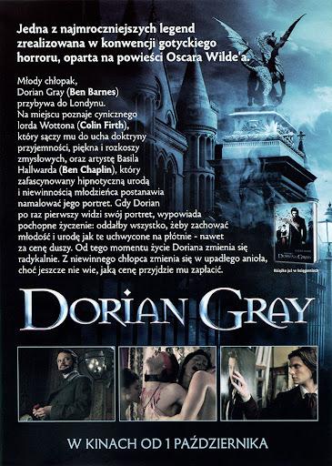 Tył ulotki filmu 'Dorian Gray'