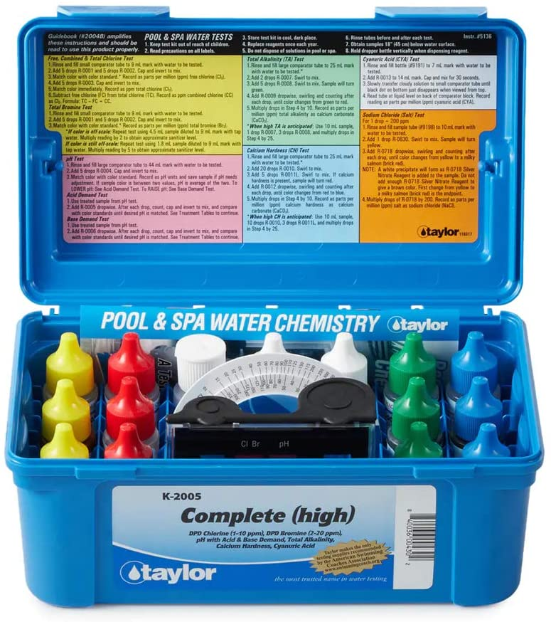 a blue pool test kit box with 14 bottles, and 3 test tubes to measure pool chemicals
