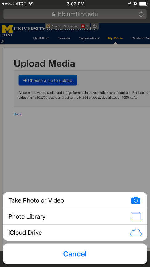 Select a video on iOS