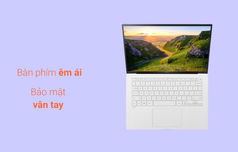 Laptop LG Gram 2021 14ZD90P-G.AX51A5 (i5-1135G7) (Trắng) | Bàn phím êm ái
