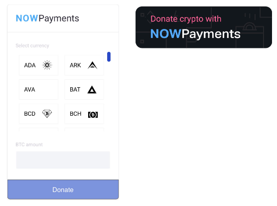 ask bitcoin donation with NOWPayments