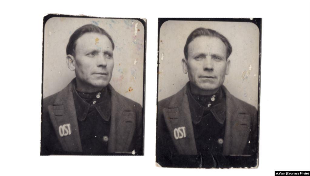 Український примусовий робітник із нашивкою «OST». Приватний архів А. Усача