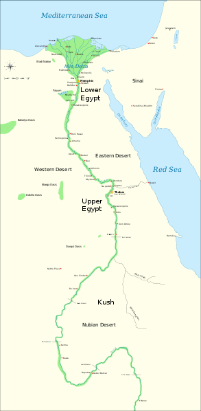 Map of Egypt depicting lower and upper Egypt along the Nile.