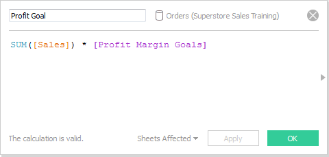New calculated field for Profit Goals