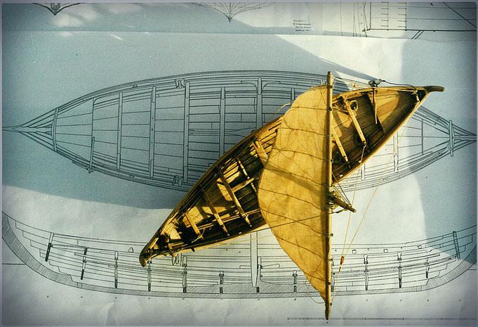 Wikinger Schiffsmodell 1:32, gebaut von Manfred Porath - Mit Bauplan