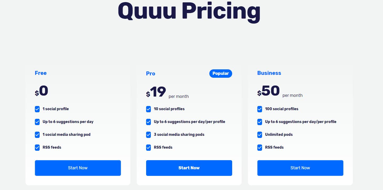 QUUU pricing plans