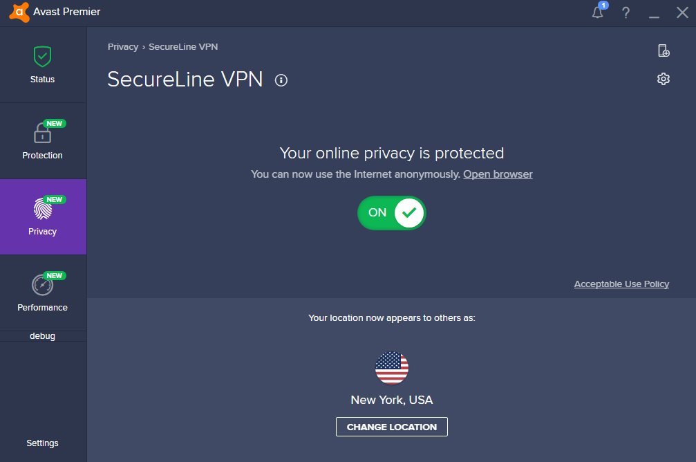 Avast SecureLine VPN user interface
