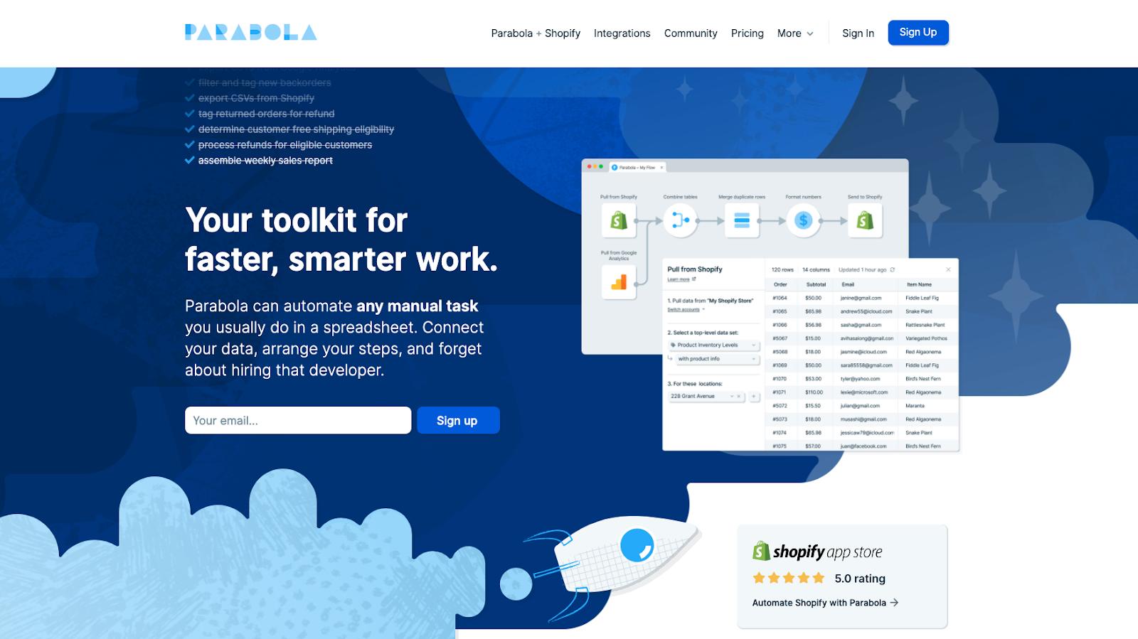 parabola homepage