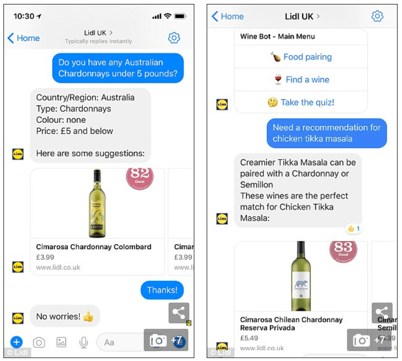 Lidl's Winebot Chatbot Example