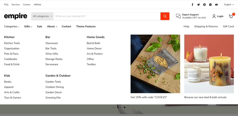 Shopifyのメニューバーは、主に「ページトップ」「サイドメニュー」「モーダルメニュー」の3種類に分類され、位置変更ができないものが多いため事前に確認する必要があります。またテーマによっては、メガメニューという画面の大半を覆うほど大きなスペースを持つドロップダウンメニューを使用できるものがあります。