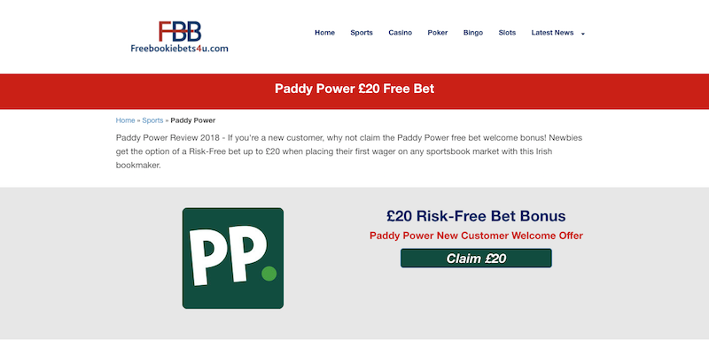 Free Bookie Bets 4u - Paddy Power Free Bet Review.