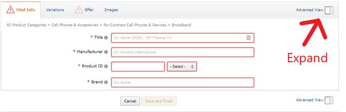Amazon listing vital information