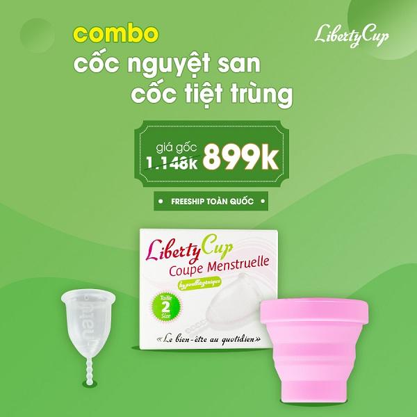 Chương trình khuyến mãi mua combo cốc nguyệt san, cốc tiệt trùng với giá ưu đãi chỉ 899k, tiết kiệm hơn 250k so với giá gốc
