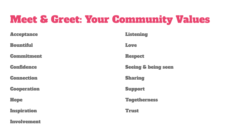 Values from Meet and Greet