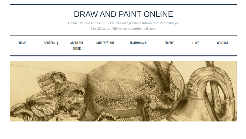 Peter Stanyer's website, Draw and Paint Online, has art courses aimed at all skill levels.
