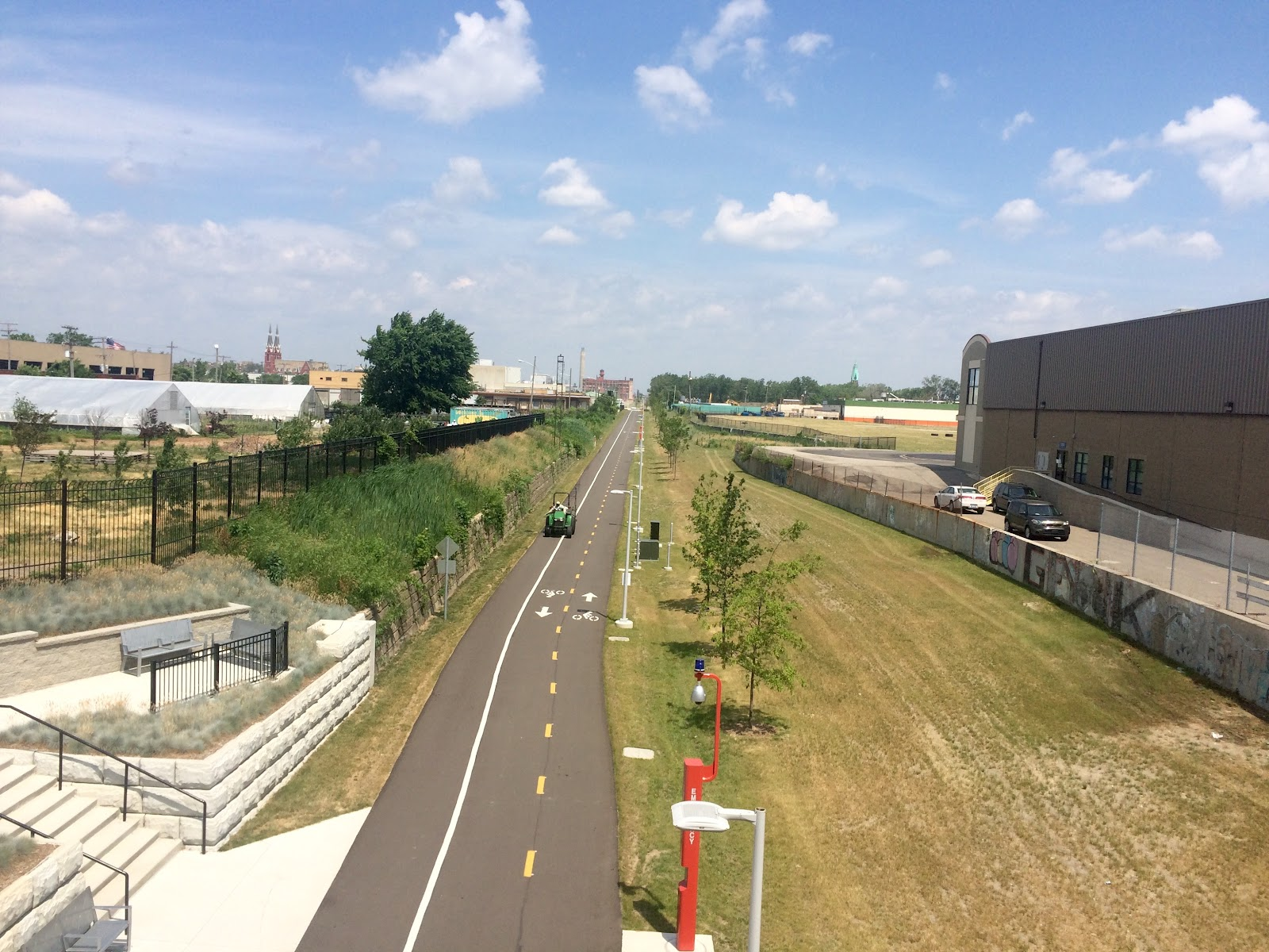 Looking north, the Dequindre Cut is adjacent to the revitalized Detroit Market Garden and heads toward the growing bike thoroughfare