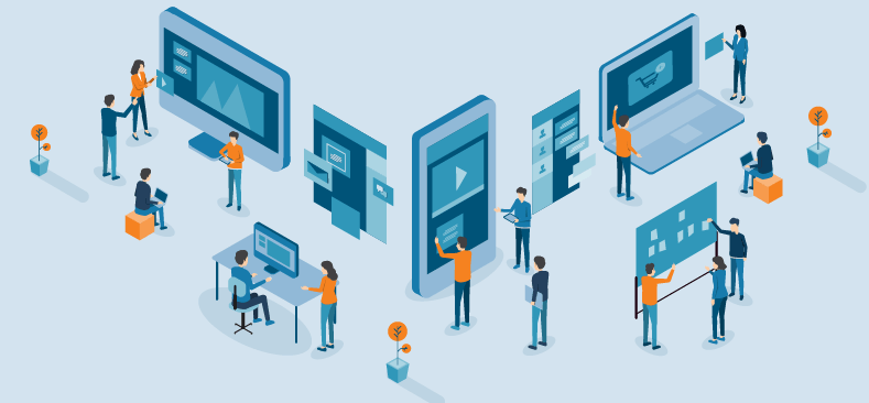 A diverse and connected workspace, showing people using visual collaboration in order to interact from many different devices and platforms.