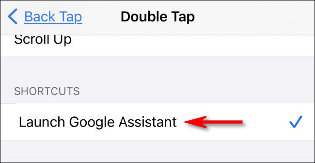 """In Back Tap settings, select the """"Launch Google Assistant"""" shortcut."""