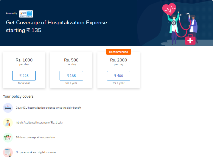 MaxBupa X MobiKwik Hospicash policy covering out-of-pocket expenses during hospitalization