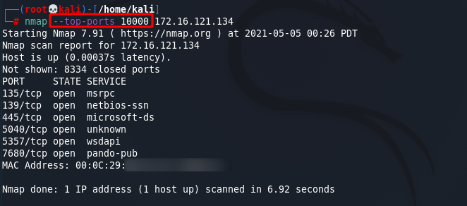 [NMAP Scan Any Port]: Scan the top 10000 top ports. Source: nudesystems.com