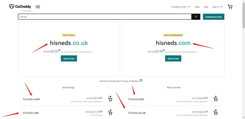 GoDaddy domains search