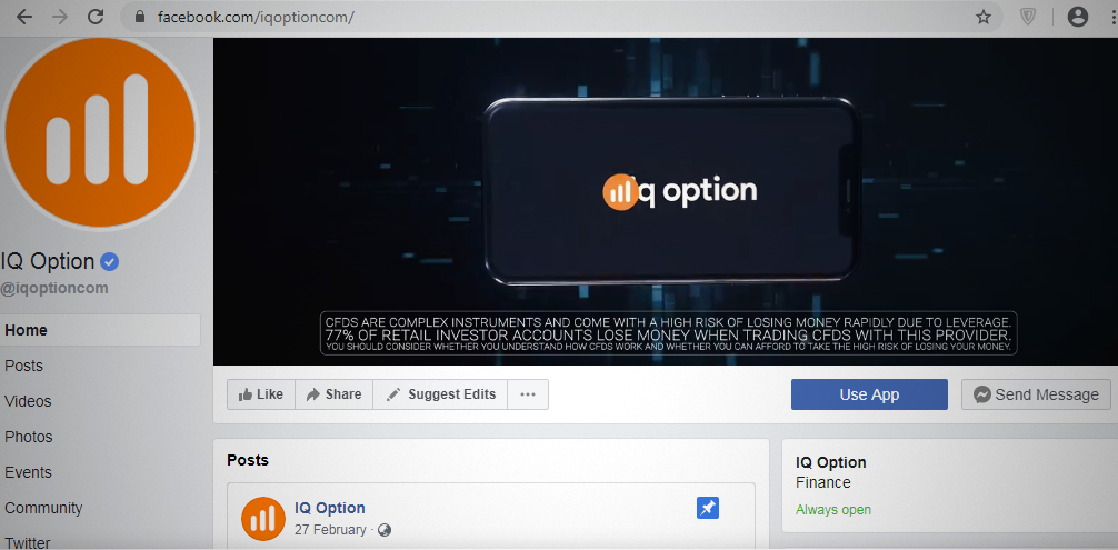 IQ Option Facebook Page