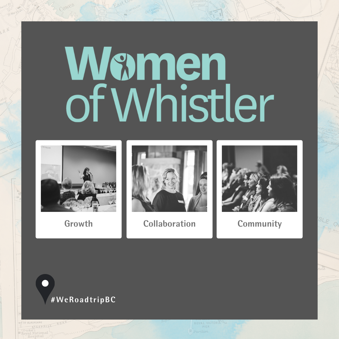 Women of Whistler logo above three polaroid style black and white photos, first photo of a woman speaking to a room full of people with captioned Growth, second photo of a group of three women smiling and talking to eachother captioned collaboration, third photo of a row of women at a conference attention away from the camera looking at stage captioned Community.