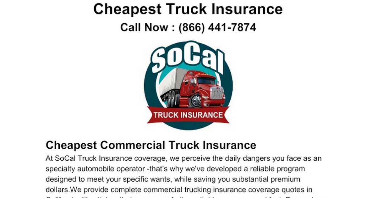 Not known Details About California (Ca) Commercial Trucking Insurance Quotes