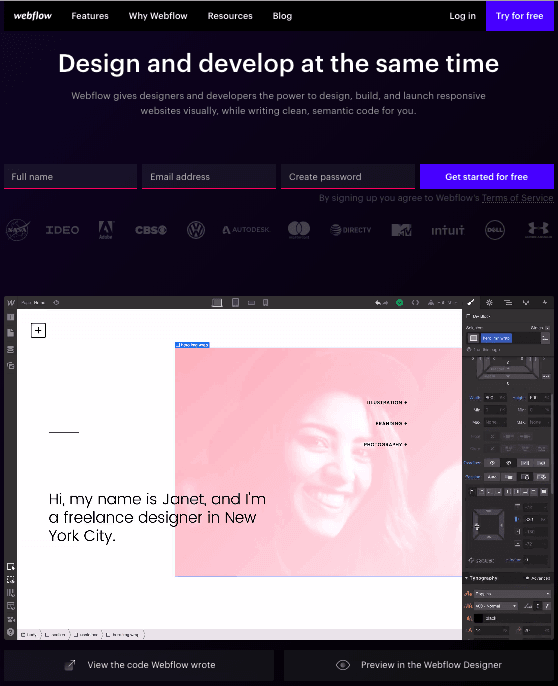 Sign-up landing page by Webflow