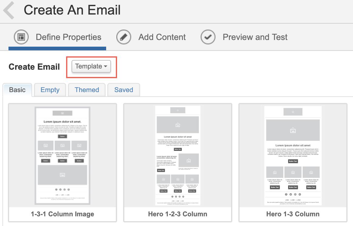 Capture d'écran montrant Créer un e-mail avec l'option Modèle sélectionnée.