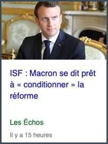 ISF Macron réforme conditionnée