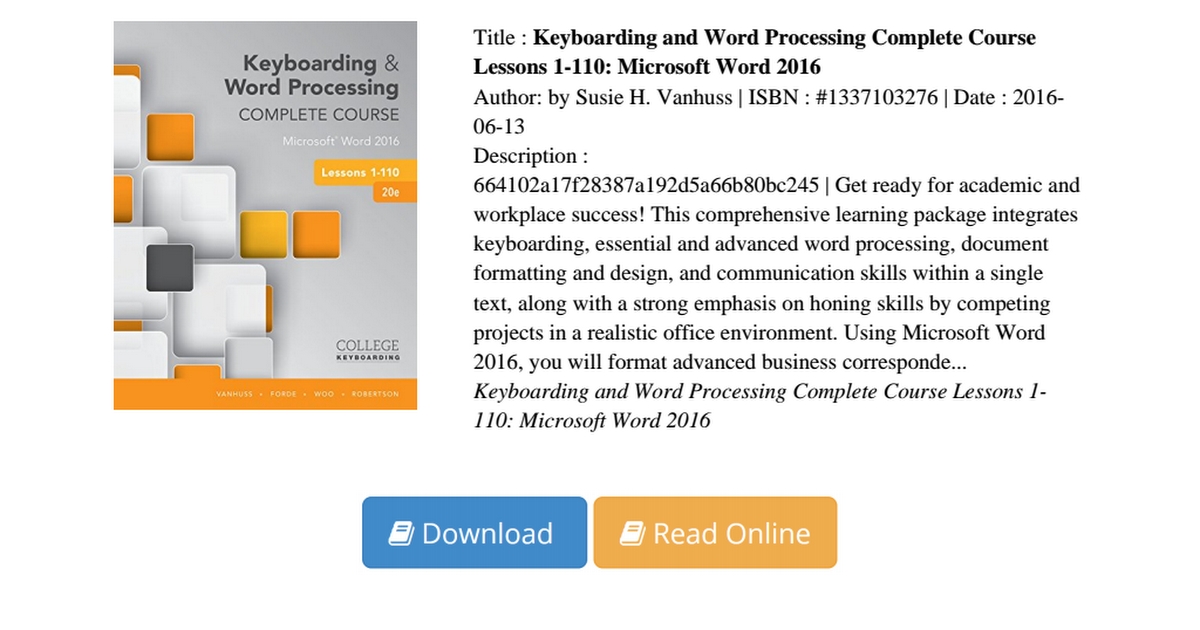 advanced word processing Name: solution manual for advanced word processing, lessons 56-110 microsoft word 2010, 18th edition if you have any questions, or would like a receive a sample chapter before your purchase, please contact us at info@testbankteamcom.